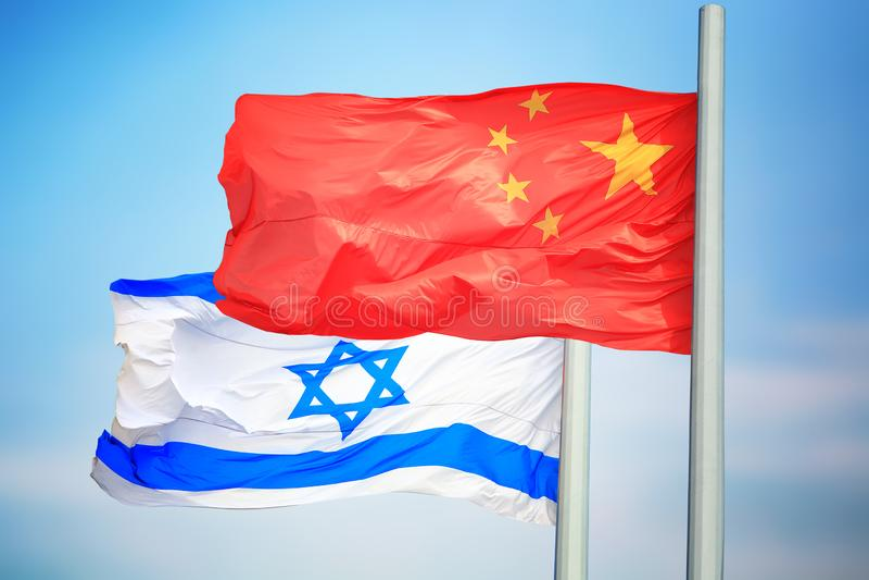 Flagi Chin i Izraela fotografia stock