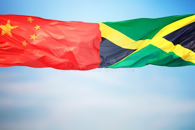 Flagi Chin i Jamajki fotografia stock