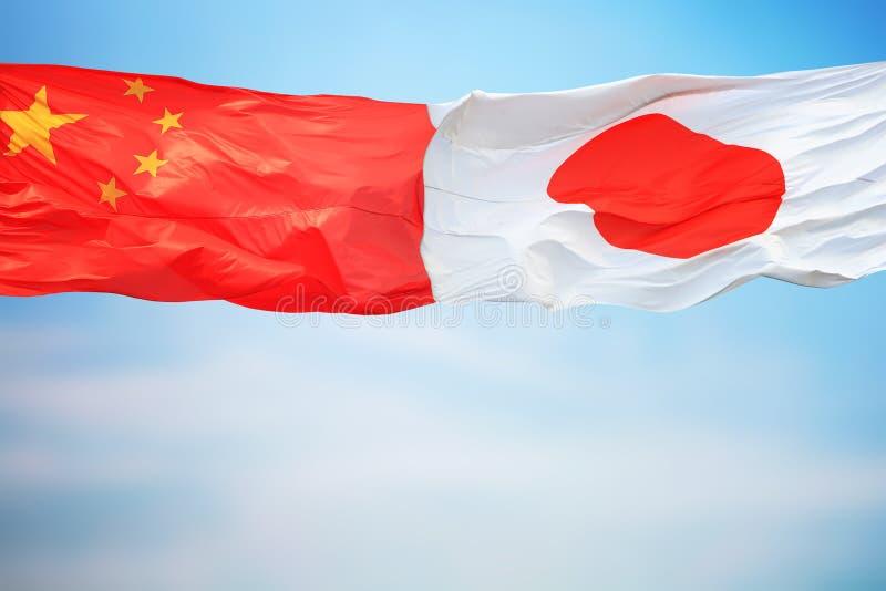 Flagi Chin i Japonii obrazy stock