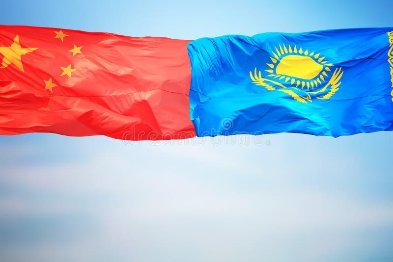 Flagi Chin i Kazachstanu fotografia royalty free