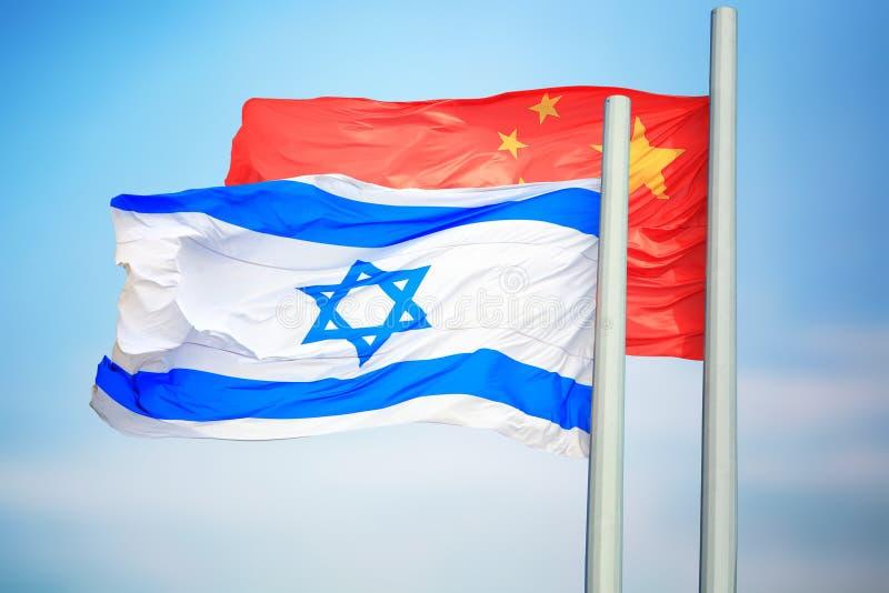 Flagi Izraela i Chin fotografia royalty free
