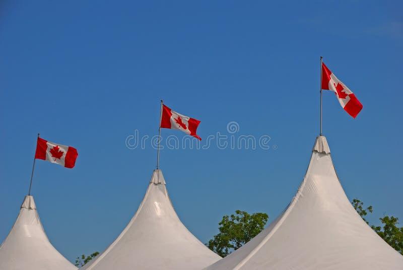 Flagi Kanada przy wierzchołkiem biały namiot z jasnym niebieskiego nieba tłem obrazy stock