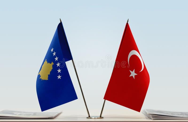 Flagi Kosowo i Turcja zdjęcie royalty free