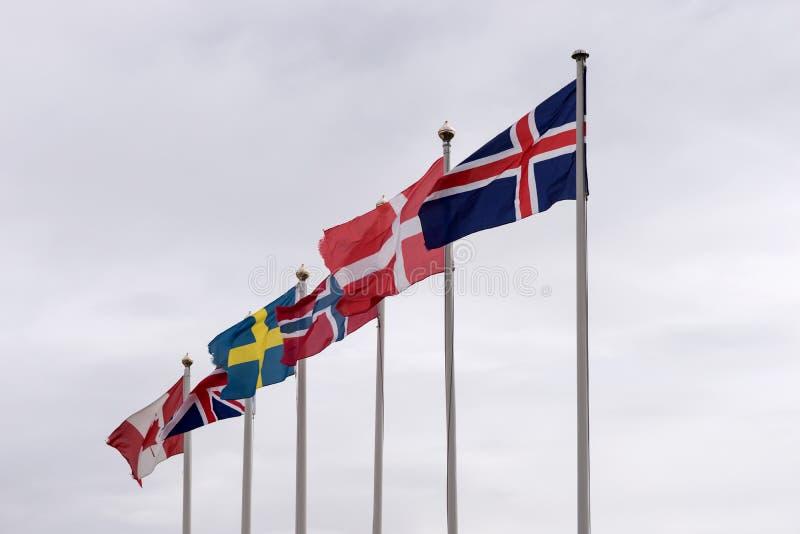 Flagi od Iceland, Dani, Norwegia, Szwecja, Zjednoczone Królestwo i Kanada, zdjęcie stock