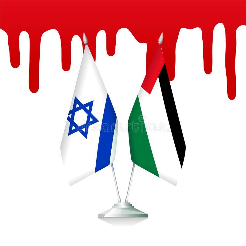 Flagi Palestyna i Izrael z krwią ilustracji