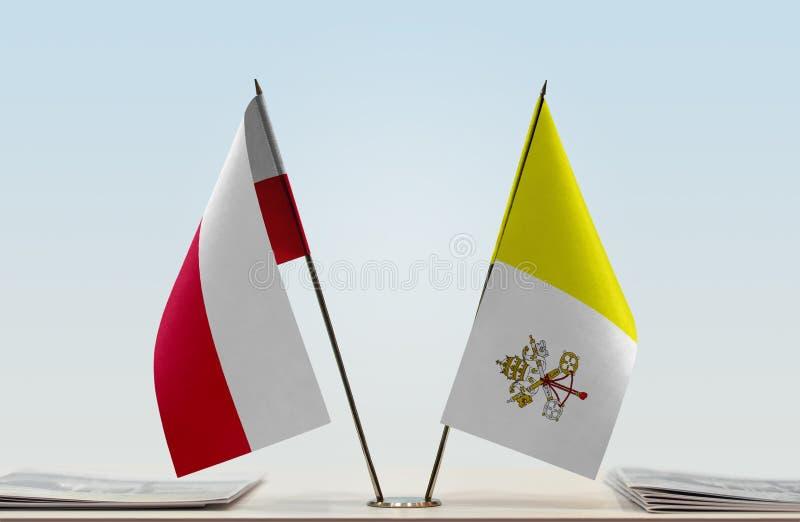 Flagi Polska i Watykan obrazy royalty free