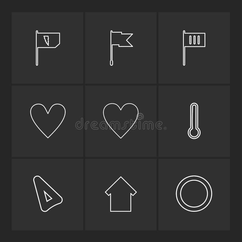 Flagi, serca, kamera, pupil, flaga, eps ikony ustawiają wektor royalty ilustracja