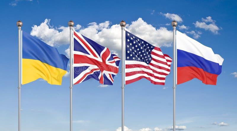 Flagi Stanów Zjednoczonych Ameryki, Zjednoczonego Królestwa, Rosji i Ukrainy. Memorandum budapeszteńskie o zabezpieczeniach. 3d royalty ilustracja