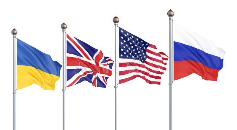 Flagi Stanów Zjednoczonych Ameryki, Zjednoczonego Królestwa, Rosji i Ukrainy. Memorandum budapeszteńskie o zabezpieczeniach. 3W royalty ilustracja