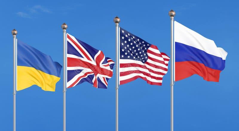 Flagi Stany Zjednoczone Ameryka, Zjednoczone Królestwo, Rosja i Ukraina, Budapest memorandum na ochron zapewnieniach 3d royalty ilustracja