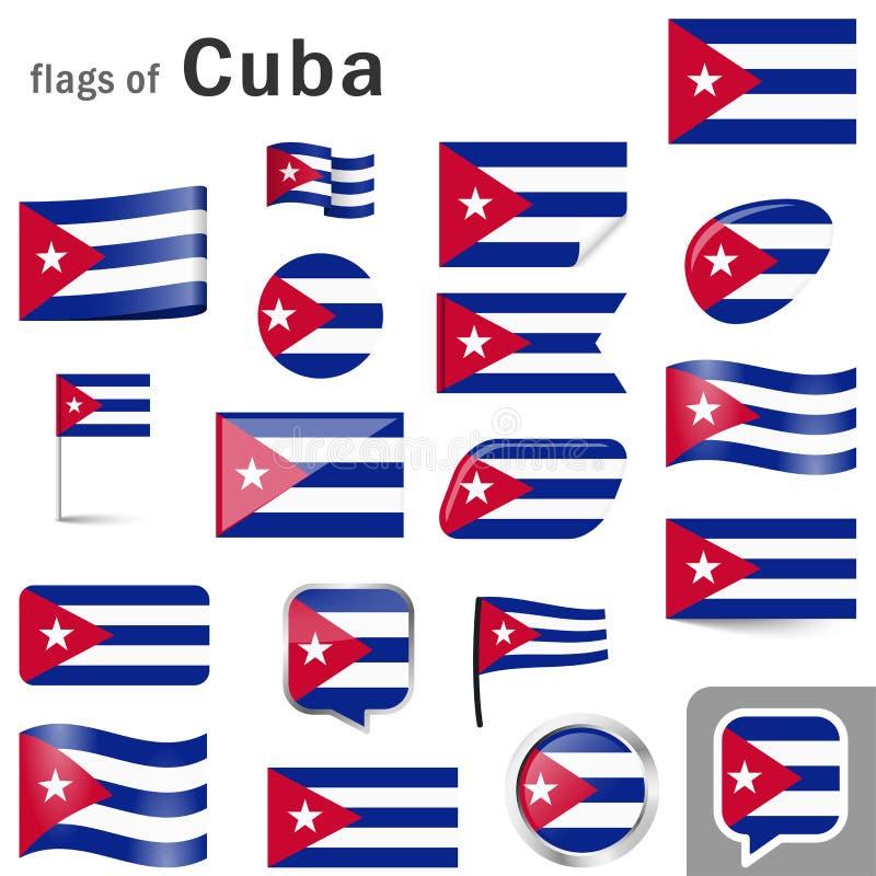flagi z krajów kolorami Kuba ilustracji