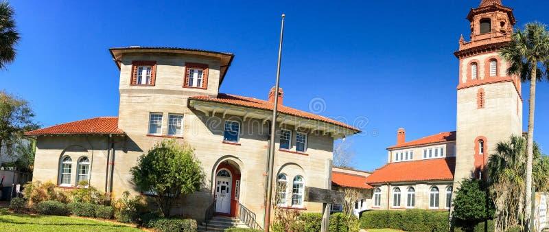 Flagler学院,圣奥斯丁, FL全景  库存图片