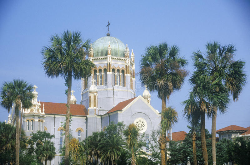 Flagler Presbyteriaanse Herdenkingskerk in de oudste voortdurend in gewoonde stad in Amerika in Heilige Augustine, FL stock afbeeldingen