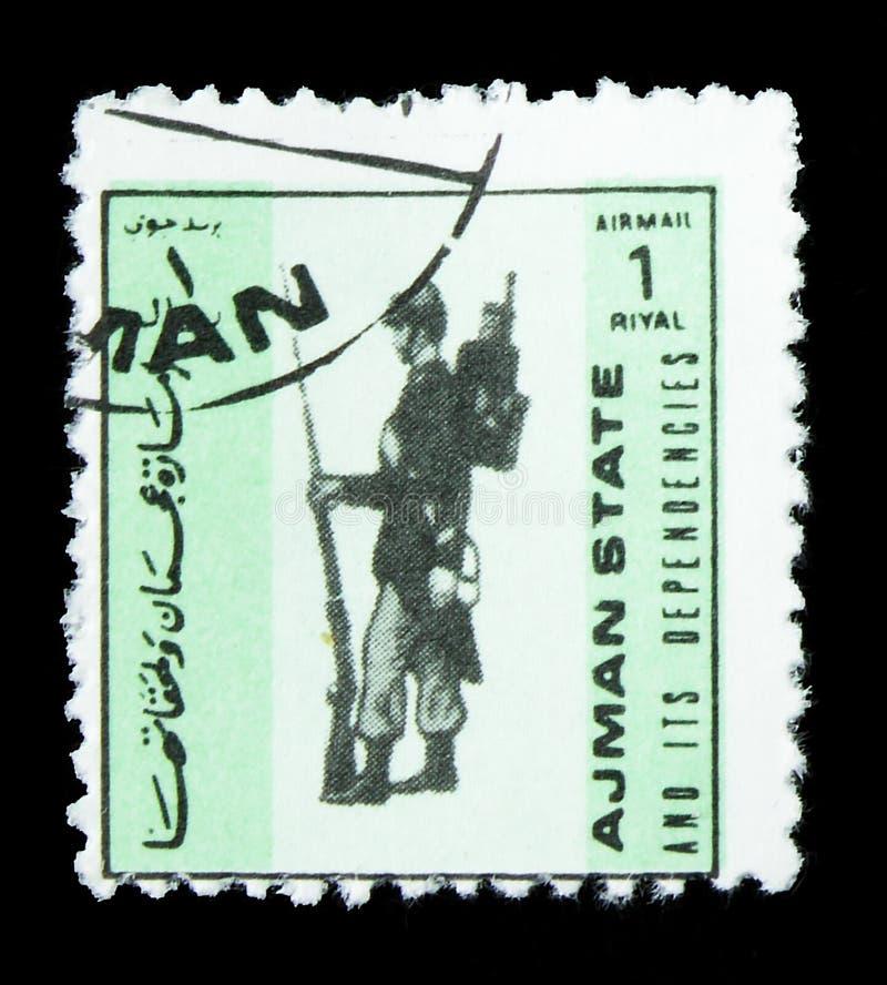 Flagpole - França, 1913, Uniformes militares, serra de pequena dimensão, por volta de 1972 fotografia de stock royalty free