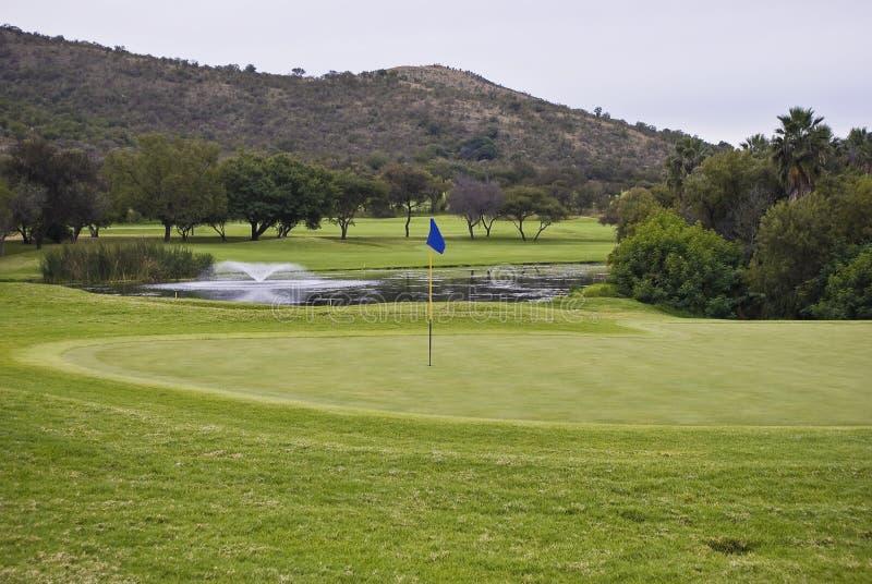 Flagpole, verde & perigo da água fotografia de stock royalty free