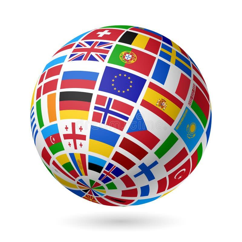 Flags глобус. Европа. иллюстрация вектора