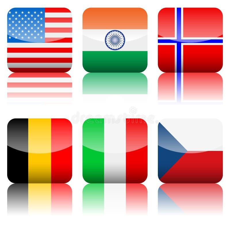 flags квадрат иконы национальный установленный иллюстрация штока