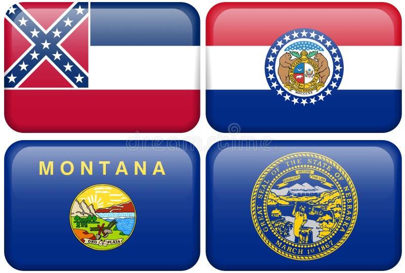 flags положение ne Миссиссипи Миссури Монтаны бесплатная иллюстрация