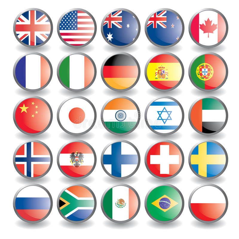 Flags. Web buttons with flags isolated on white. Name of the country as the name of the layer. Easy to change. Vector illustration eps 10 additional royalty free illustration
