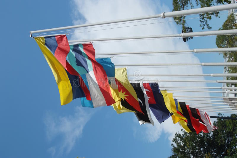 Flags. Of thirteen states in Malaysia royalty free stock photos