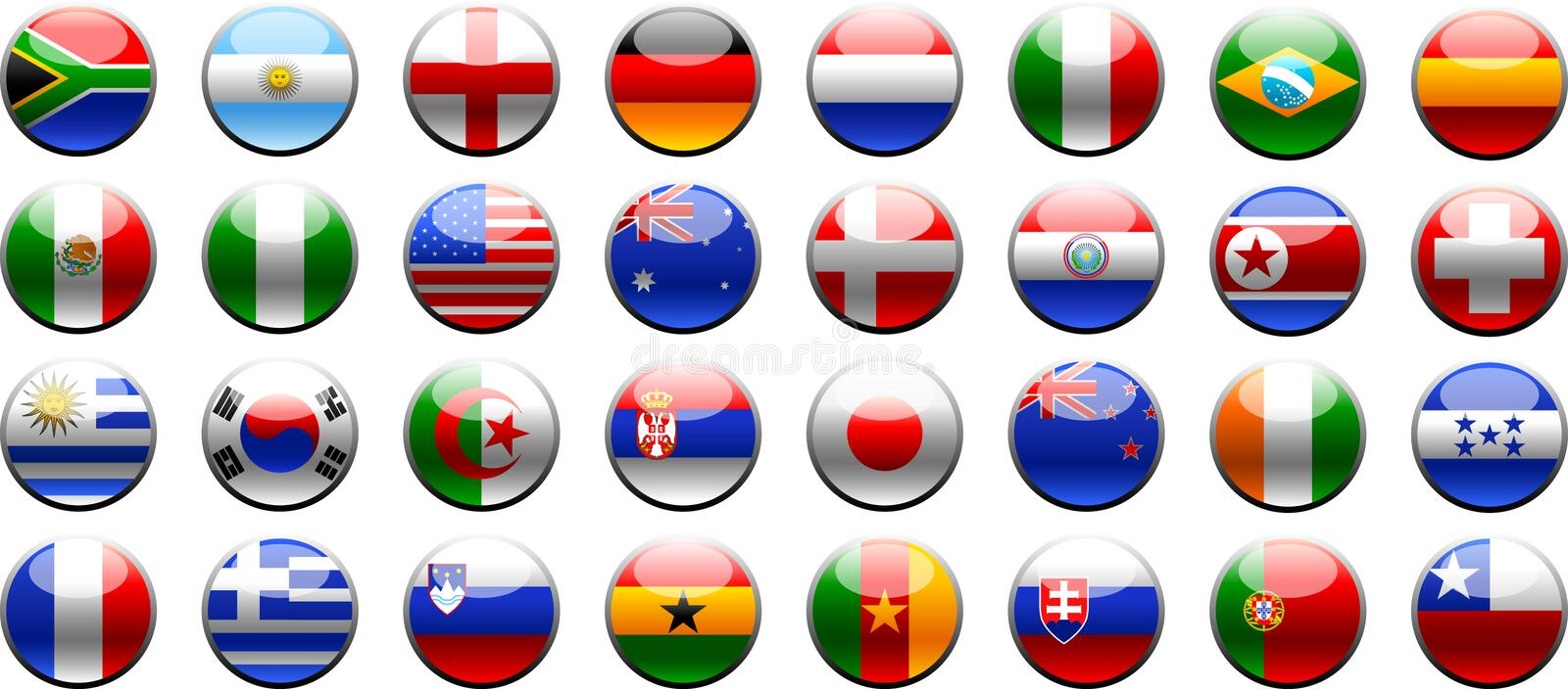 Flags 2010 FIFA world cup stock photo