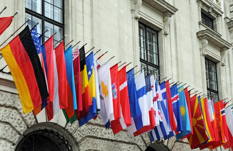 Flags. At Hofburg while a conferenz of OSCE in Vienna royalty free stock image