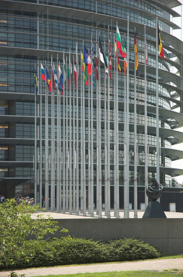 Flags. In front of the european parliament in strasbourg stock image