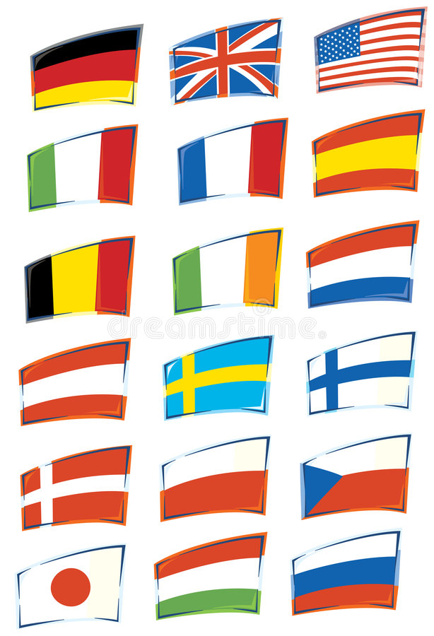 Flags. A serie of flags on withe background royalty free illustration