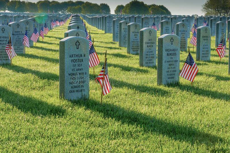 Flags adorn the graves of the fallen on Memorial Day at Abraham Lincoln National Cemetery royalty free stock image