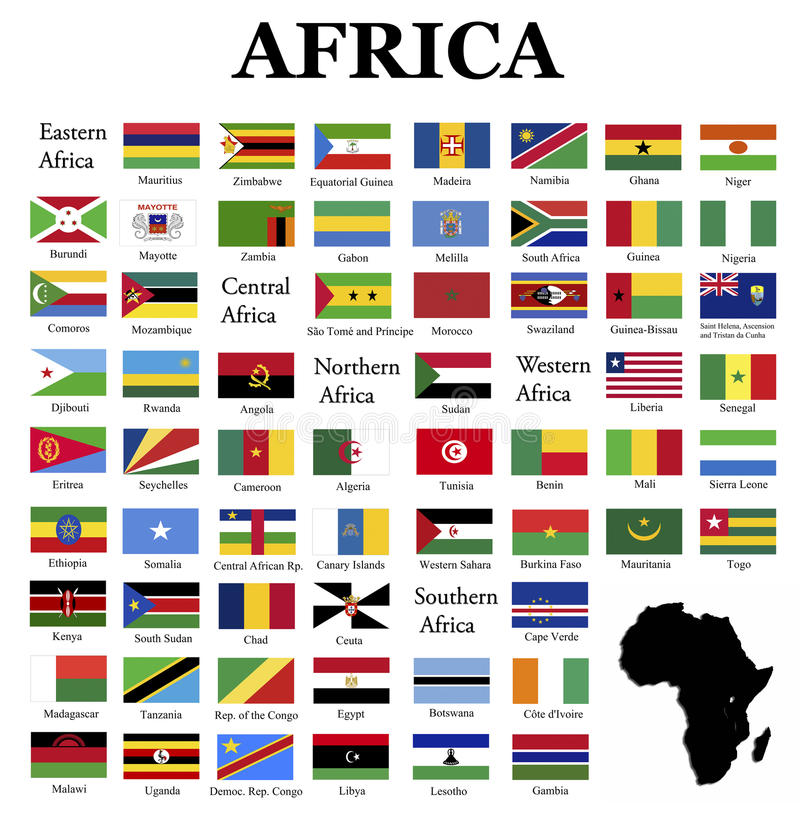 Flags of Africa. Complete set of flags in original colors over white background royalty free illustration