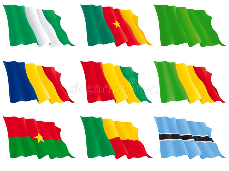 Flags Of The African Countries Royalty Free Stock Photography