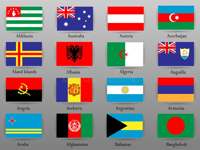 Flags of all countries of the world Part 1 vector illustration