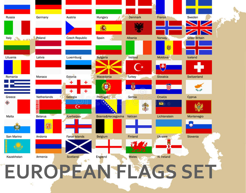 Flags of all european countries royalty free illustration