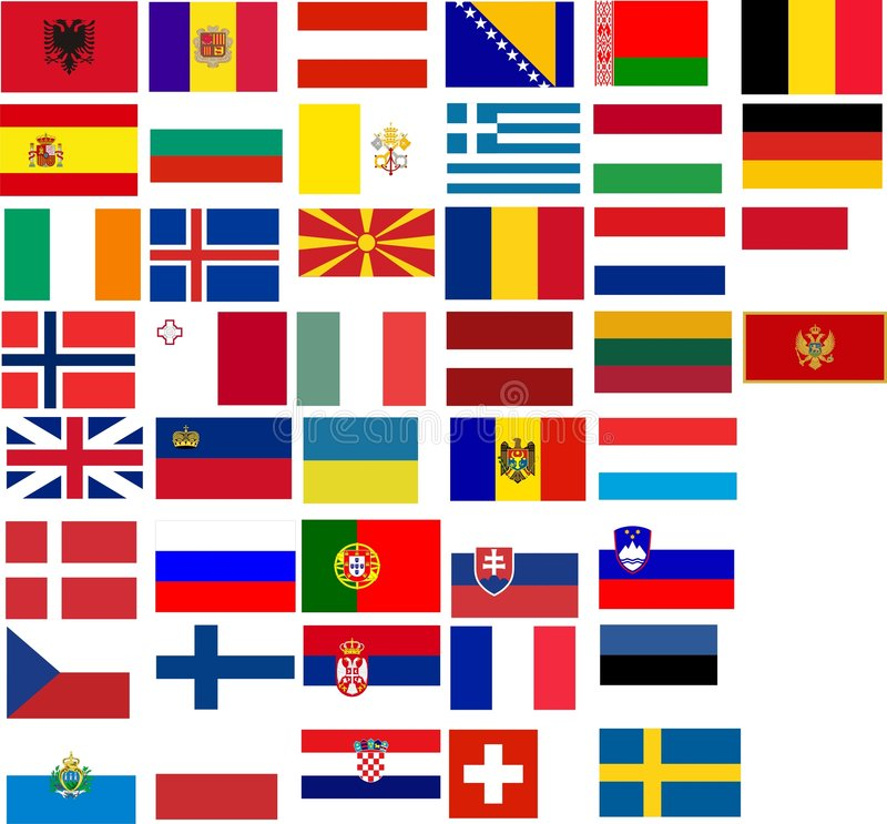Flags of all European country. Illustration over white background vector illustration