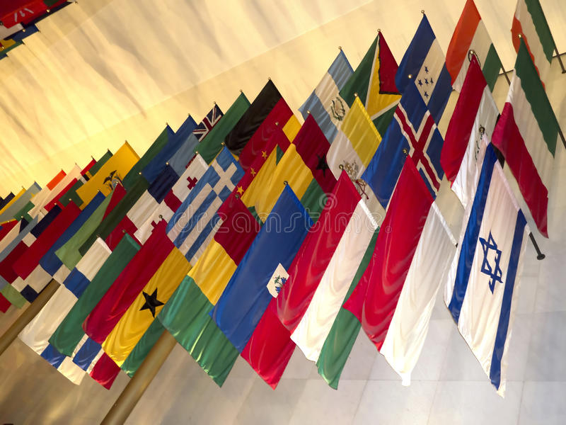 Flags of all Nations at John F Kennedy Arts Centre in Washington DC USA. John F Kennedy Arts Centre in Washington DC by the Potomac River USA stock photo