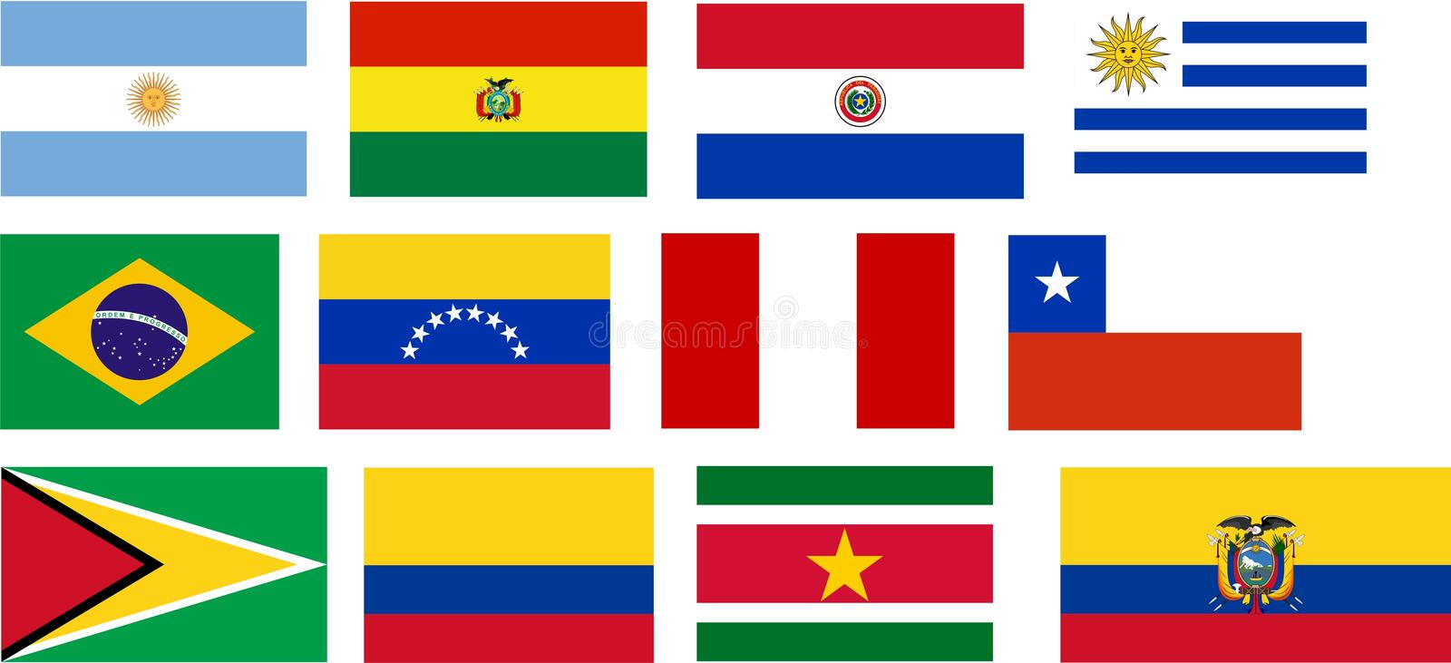 Download Flags Of All South America Countries Stock Photo - Image: 9039390