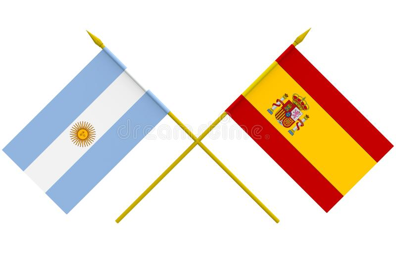 Flags, Argentina and Spain. Flags of Argentina and Spain, 3d render, isolated royalty free illustration