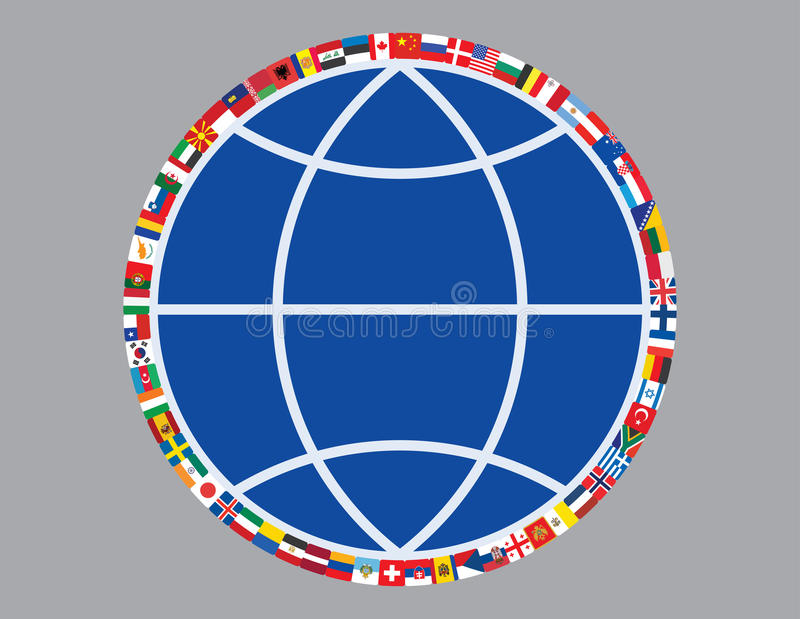 Download Flags around sign of globe stock vector. Image of china - 25796777