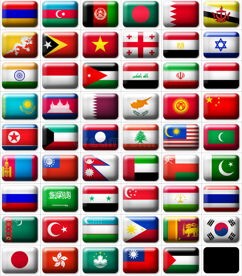 Flags of Asia royalty free illustration