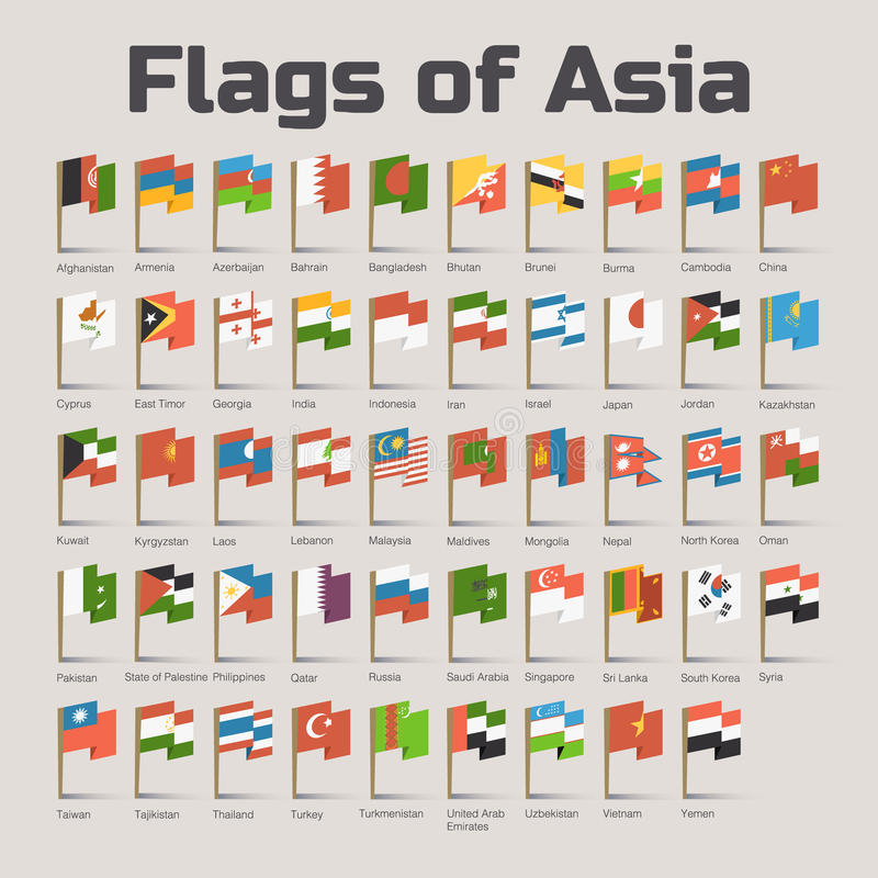 Flags of Asia in cartoon style royalty free illustration