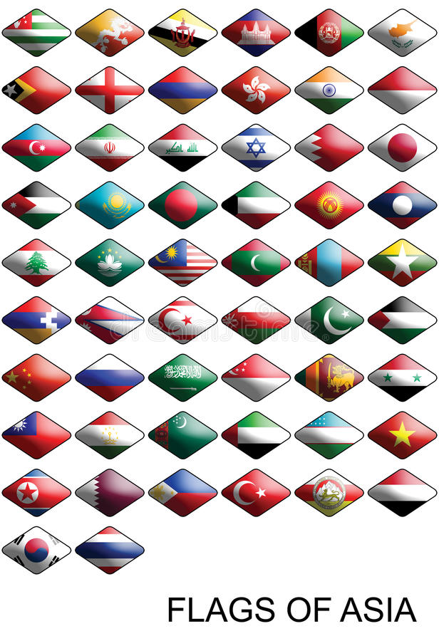 Flags Of Asia, Countries, Nations, Colours stock images