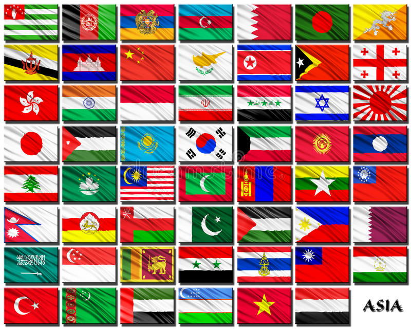 Flags of Asian countries in alphabetical order royalty free illustration