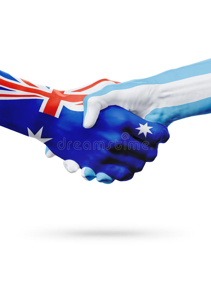 Flags Australia, Argentina countries, partnership friendship, national sports team royalty free stock images