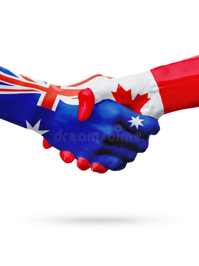 Flags Australia, Canada countries, partnership friendship, national sports team royalty free stock image