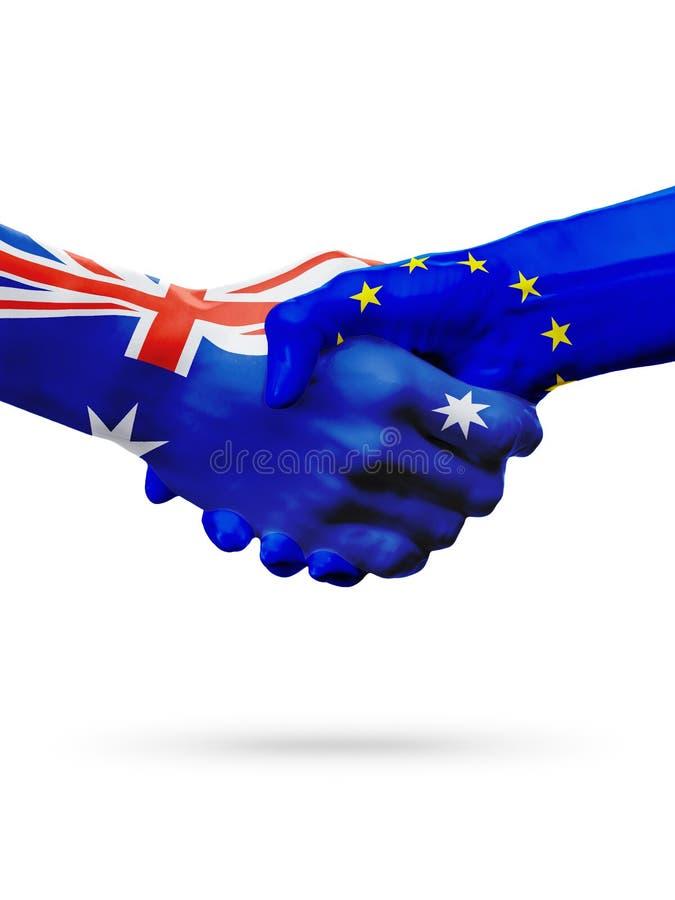 Flags Australia, European Union countries, partnership friendship, national sports team stock images