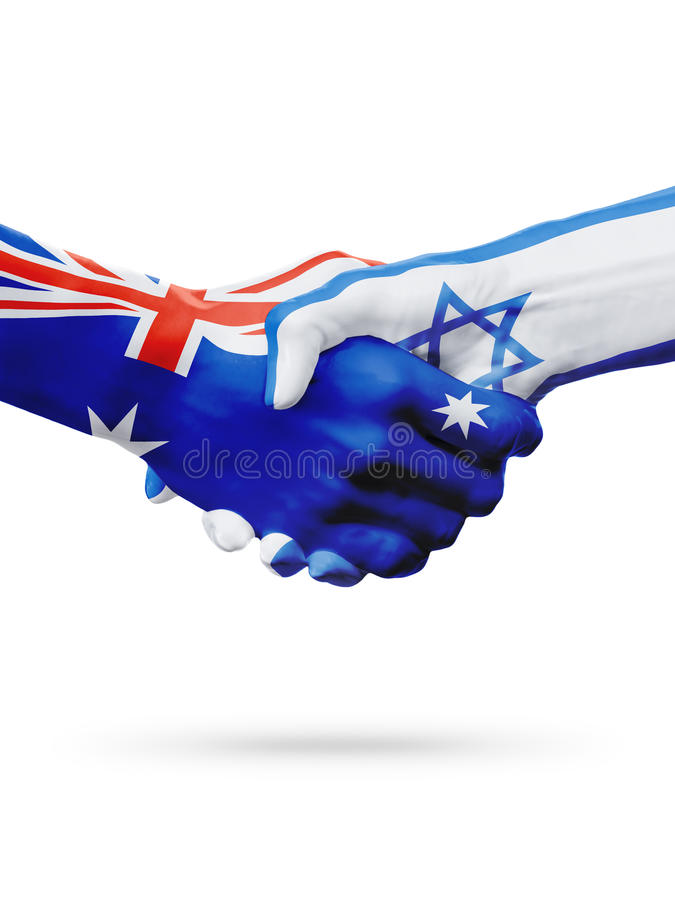 Flags Australia, Israelcountries, partnership friendship, national sports team stock photo