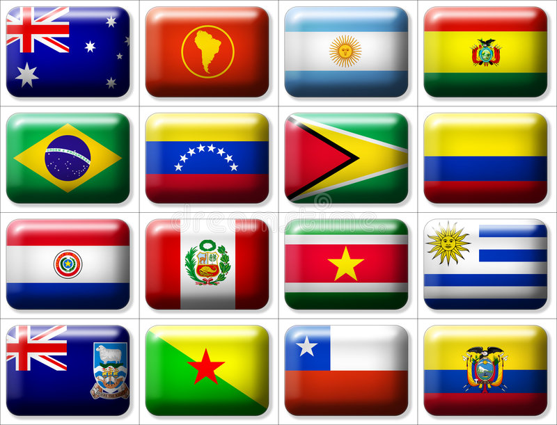 Flags of Australia & South America vector illustration