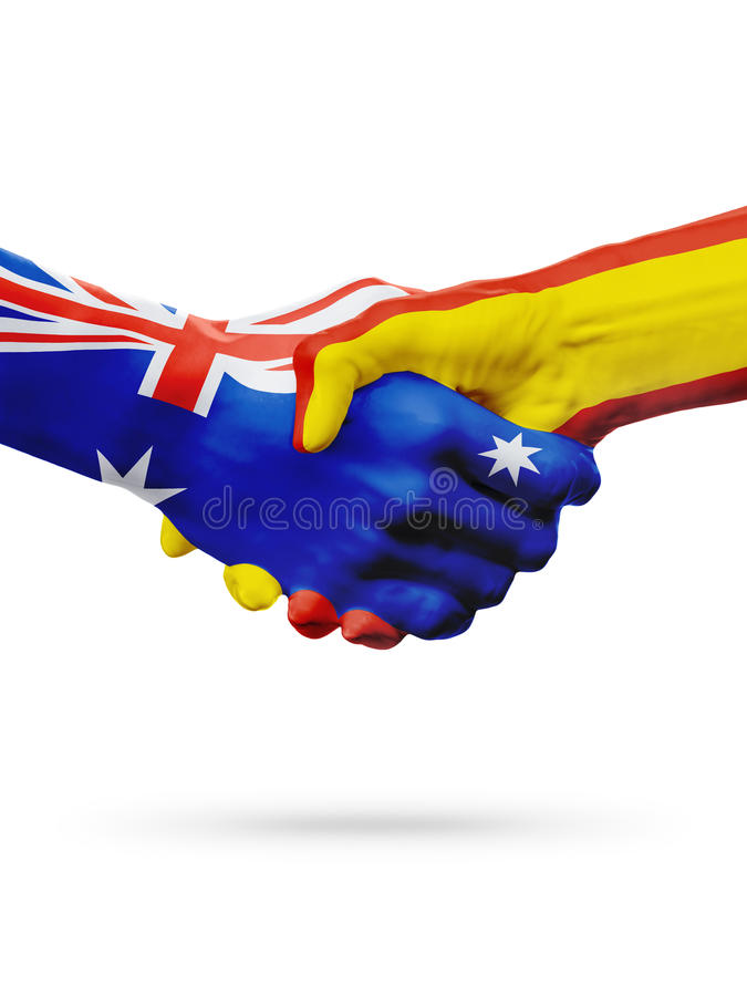 Flags Australia, Spain countries, partnership friendship, national sports team stock photo
