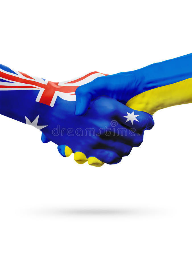 Flags Australia, Ukraine countries, partnership friendship, national sports team royalty free stock images