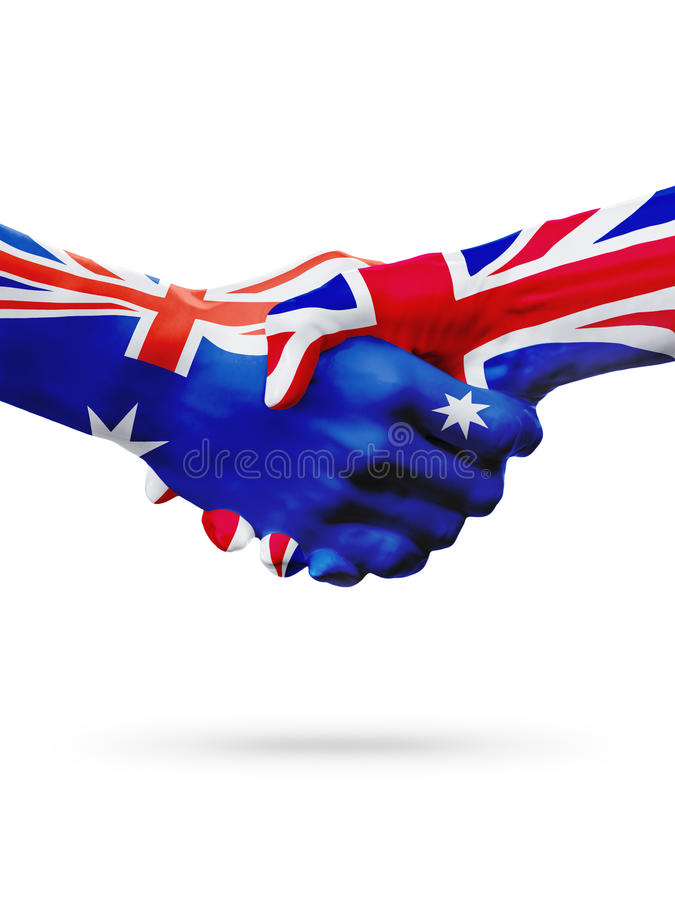 Flags Australia, United Kingdom countries, partnership friendship, national sports team stock image